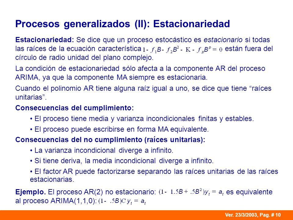 Procesos generalizados (II): Estacionariedad