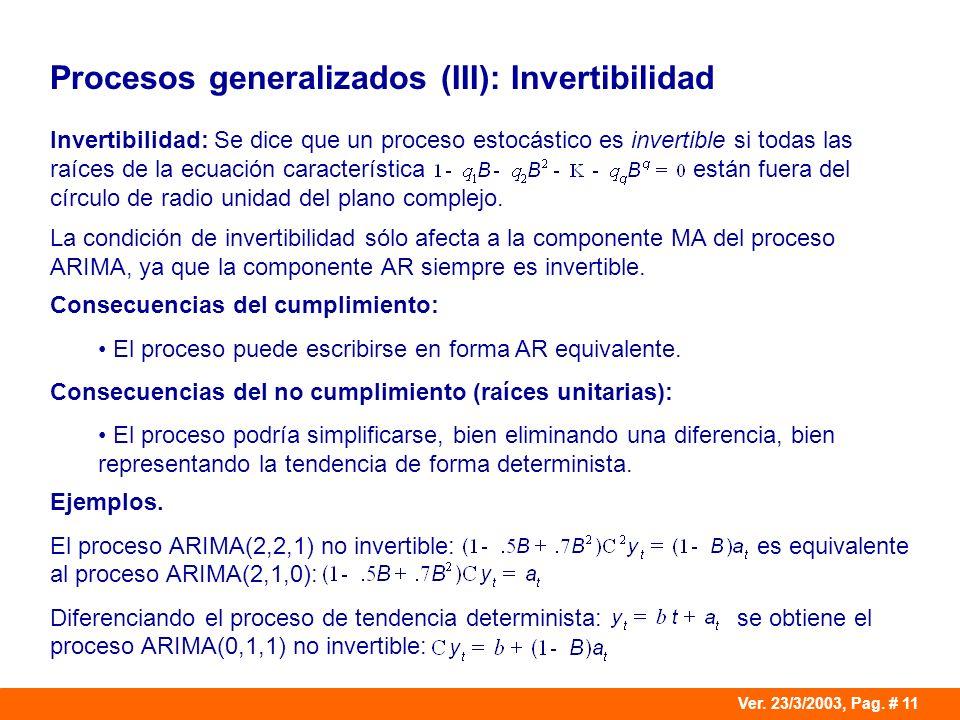 Procesos generalizados (III): Invertibilidad