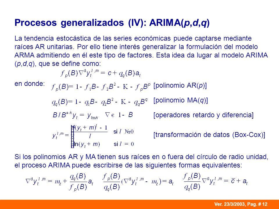 Procesos generalizados (IV): ARIMA(p,d,q)
