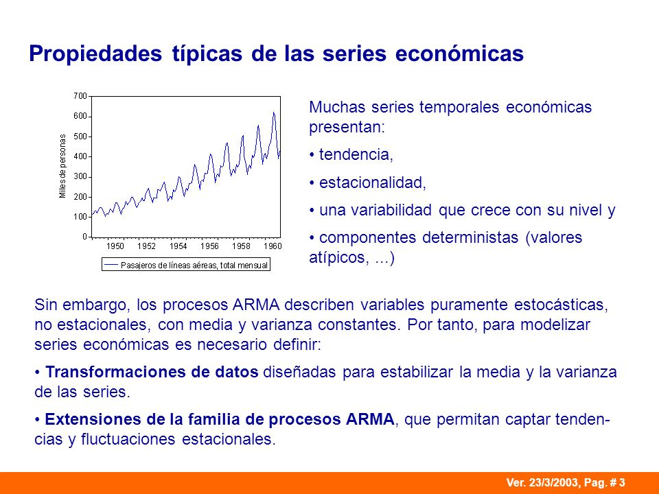 Propiedades típicas de las series económicas