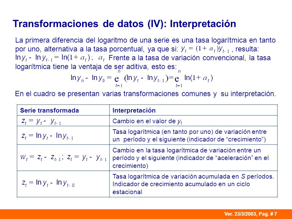 Transformaciones de datos (IV): Interpretación