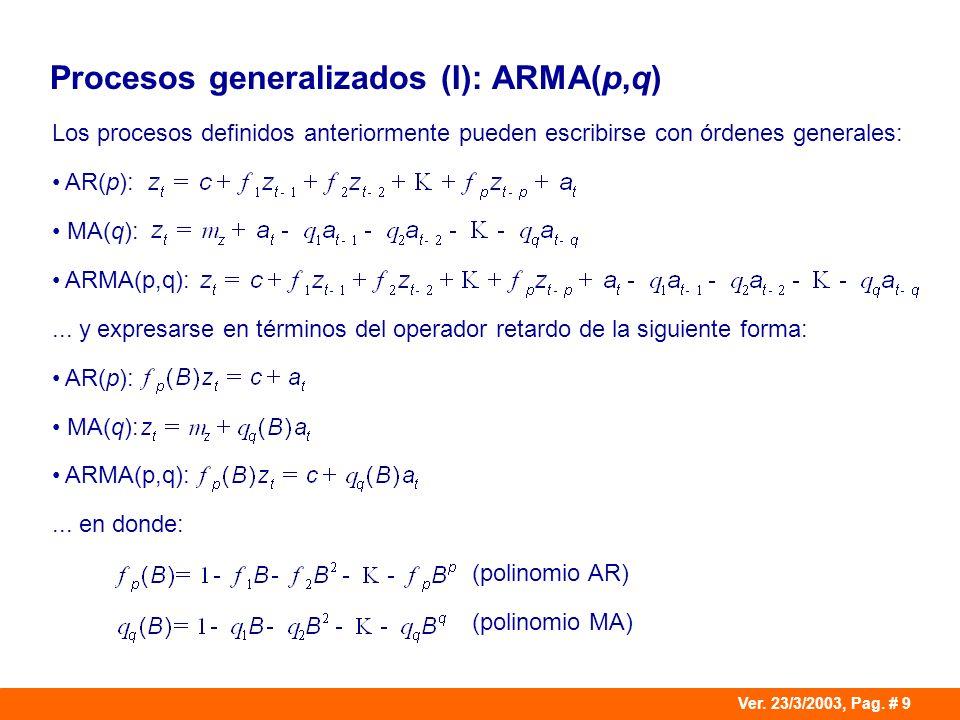 Procesos generalizados (I): ARMA(p,q)