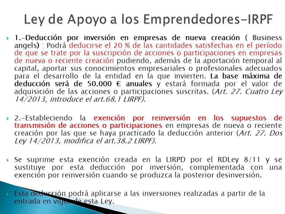 Ley de Apoyo a los Emprendedores-IRPF