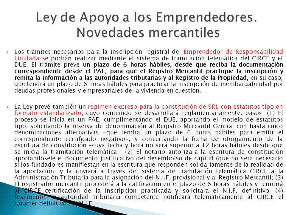 Ley de Apoyo a los Emprendedores. Novedades mercantiles