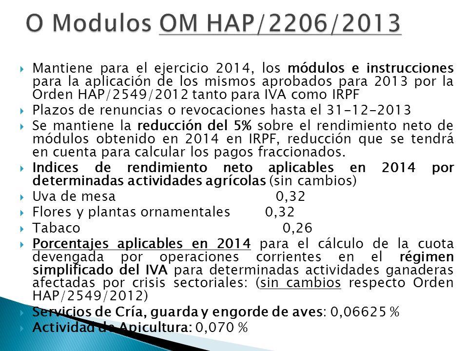 O Modulos OM HAP/2206/2013