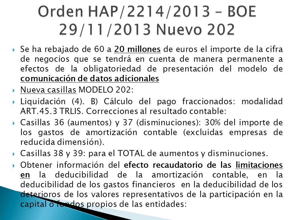 Orden HAP/2214/2013 – BOE 29/11/2013 Nuevo 202