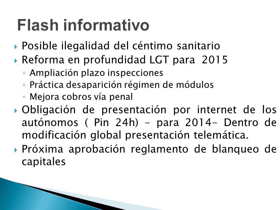 Flash informativo Posible ilegalidad del céntimo sanitario