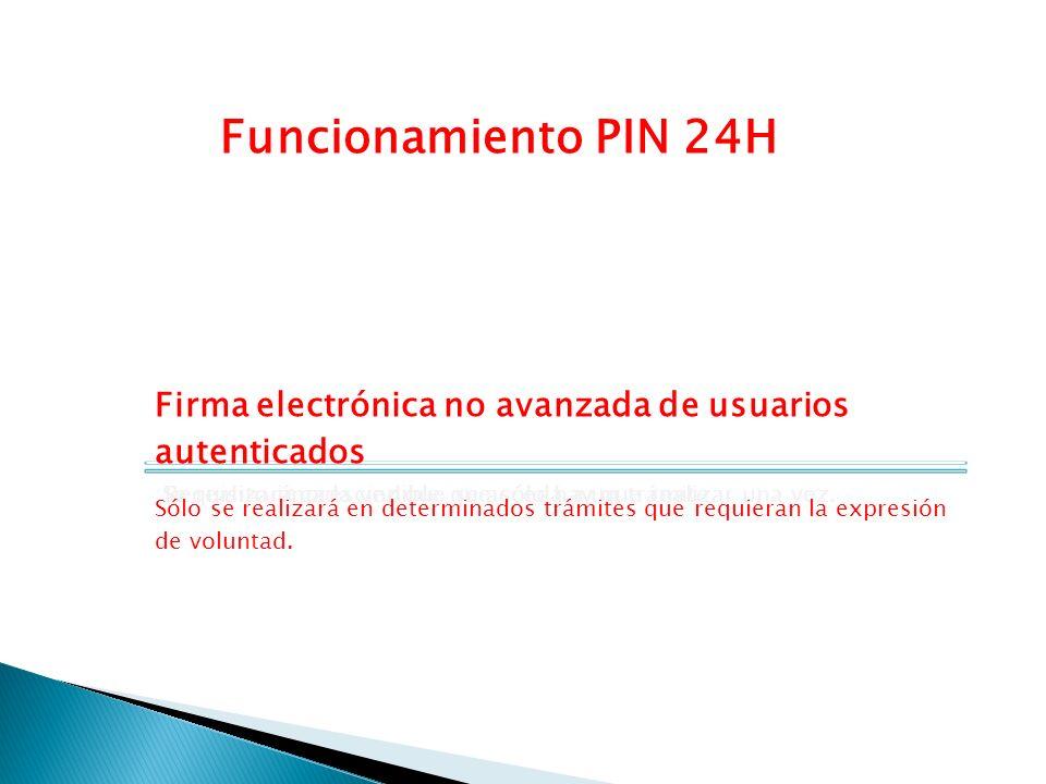 Funcionamiento PIN 24H Registro previo. Requisito imprescindible que sólo hay que realizar una vez.