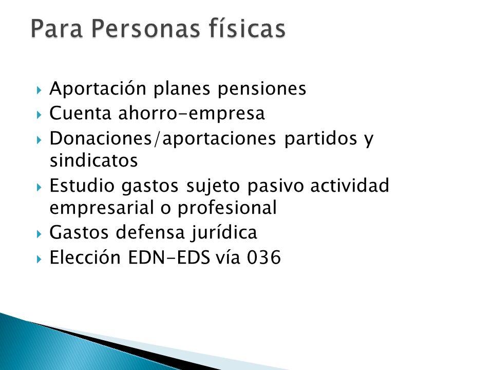 Para Personas físicas Aportación planes pensiones