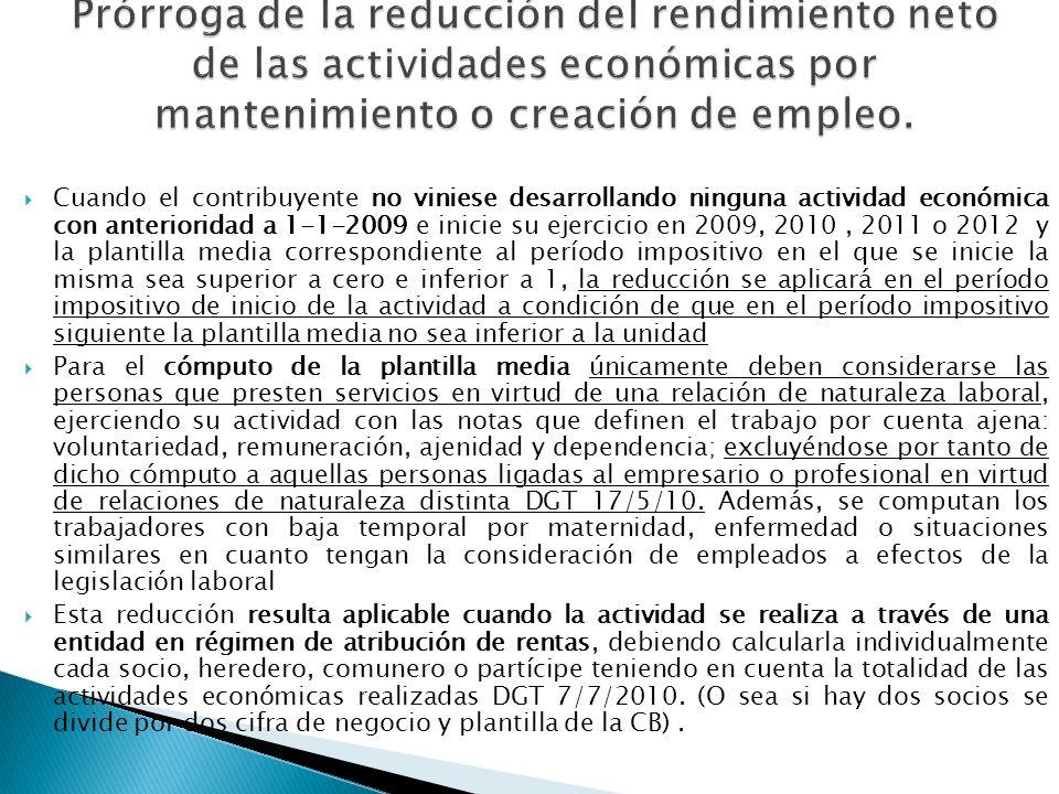 Prórroga de la reducción del rendimiento neto de las actividades económicas por mantenimiento o creación de empleo.