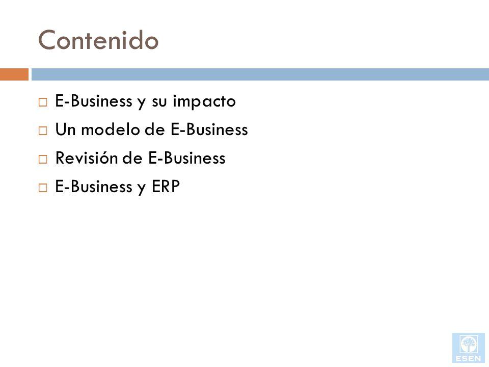 Contenido E-Business y su impacto Un modelo de E-Business
