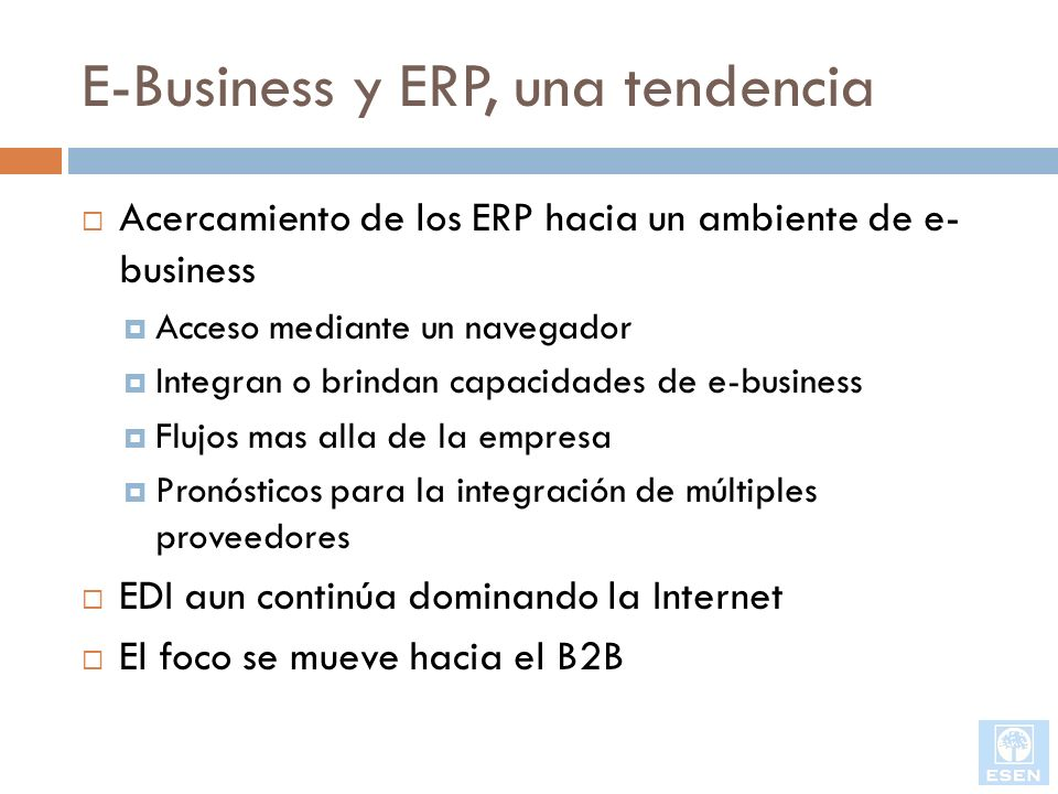 E-Business y ERP, una tendencia