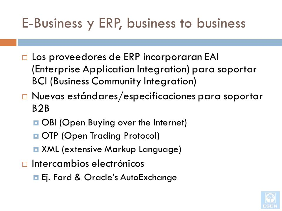 E-Business y ERP, business to business