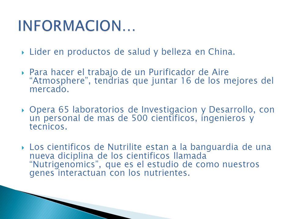 INFORMACION… Lider en productos de salud y belleza en China.