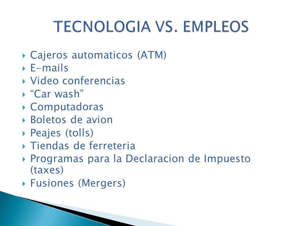 TECNOLOGIA VS. EMPLEOS Cajeros automaticos (ATM) E-mails