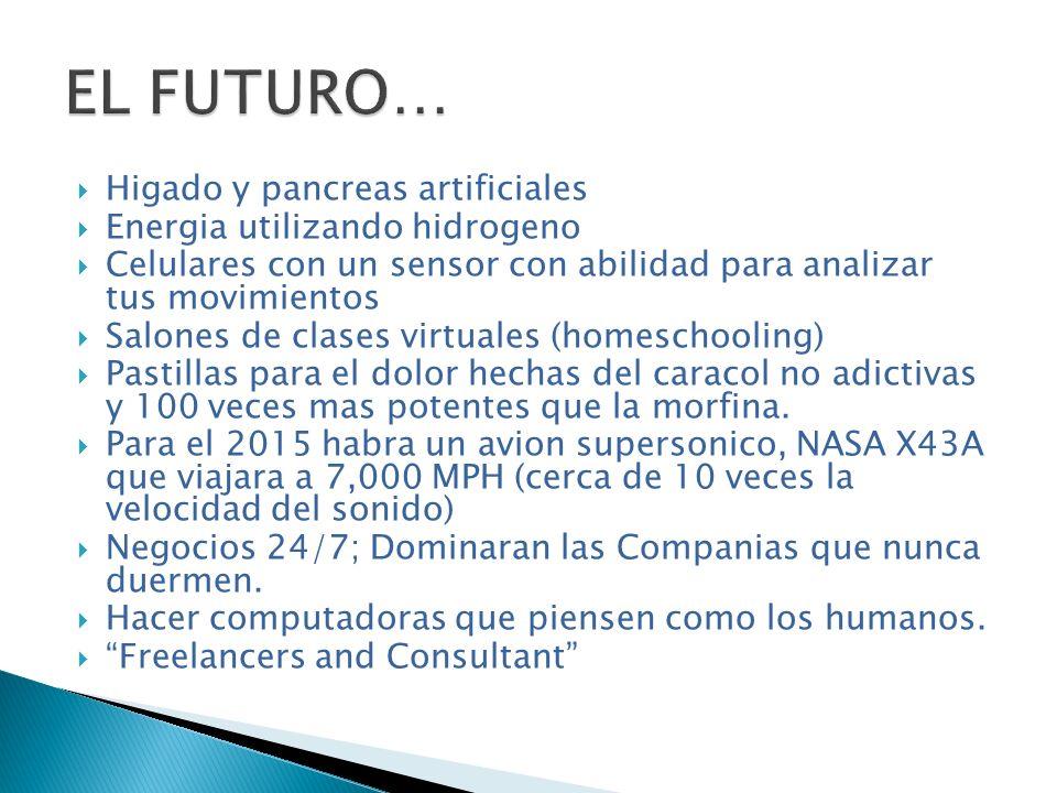EL FUTURO… Higado y pancreas artificiales Energia utilizando hidrogeno