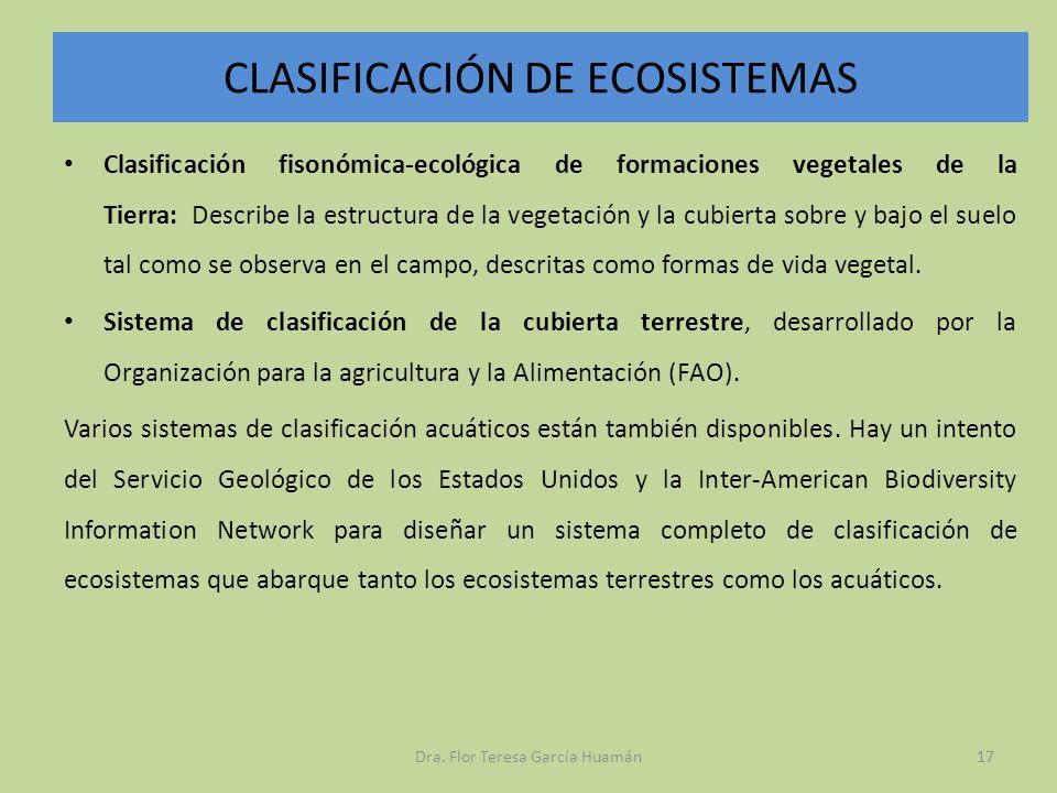 CLASIFICACIÓN DE ECOSISTEMAS