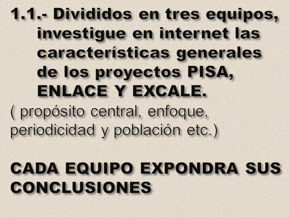 1.1.- Divididos en tres equipos, investigue en internet las características generales de los proyectos PISA, ENLACE Y EXCALE.
