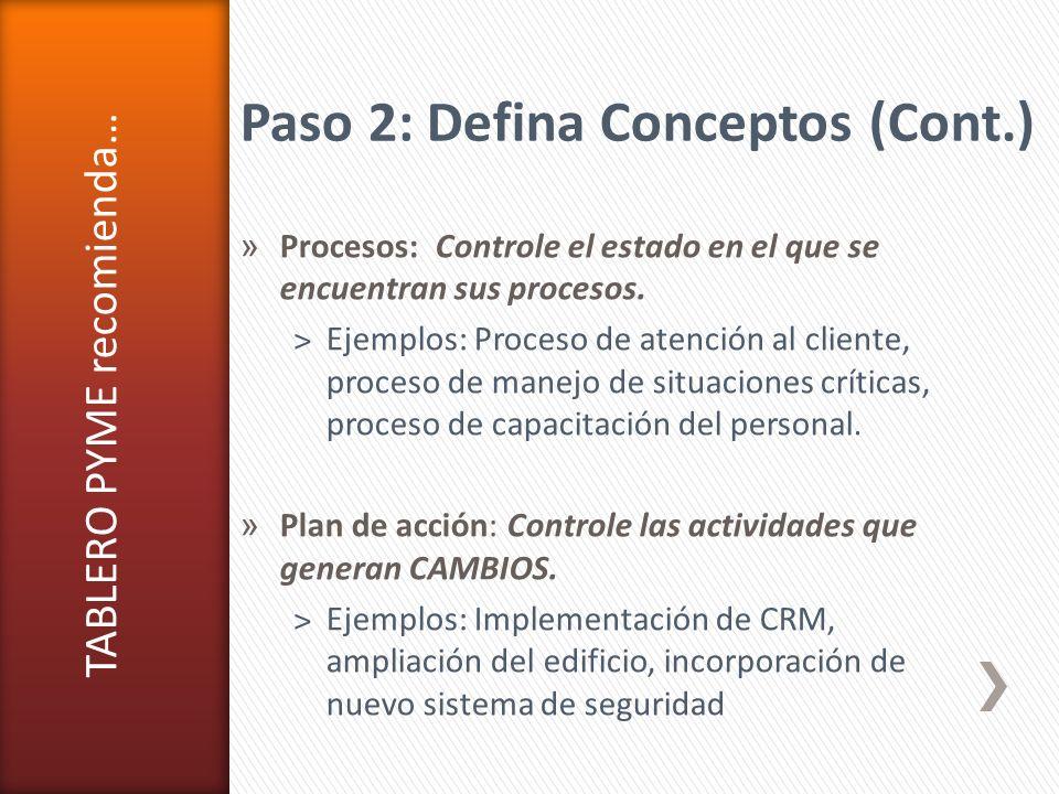 Paso 2: Defina Conceptos (Cont.)