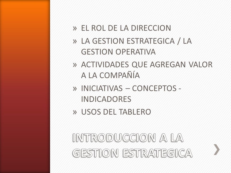 INTRODUCCION A LA GESTION ESTRATEGICA