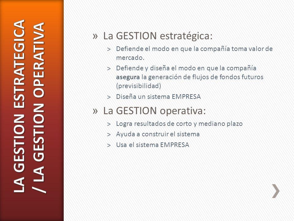 LA GESTION ESTRATEGICA / LA GESTION OPERATIVA