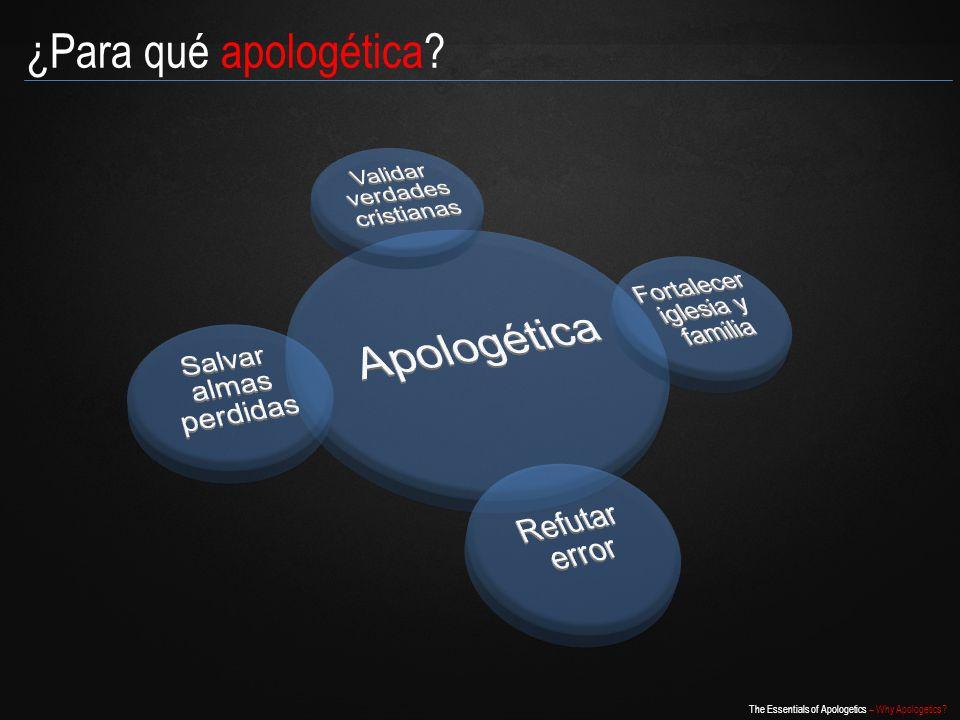 Apologética ¿Para qué apologética Validar verdades cristianas