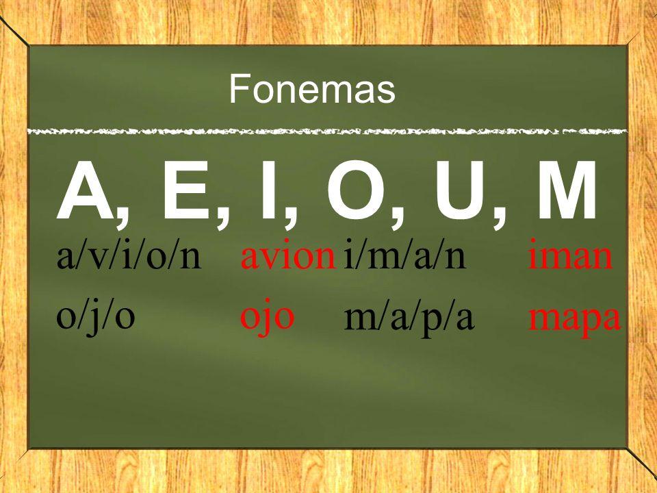 A, E, I, O, U, M a/v/i/o/n avion i/m/a/n iman o/j/o ojo m/a/p/a mapa