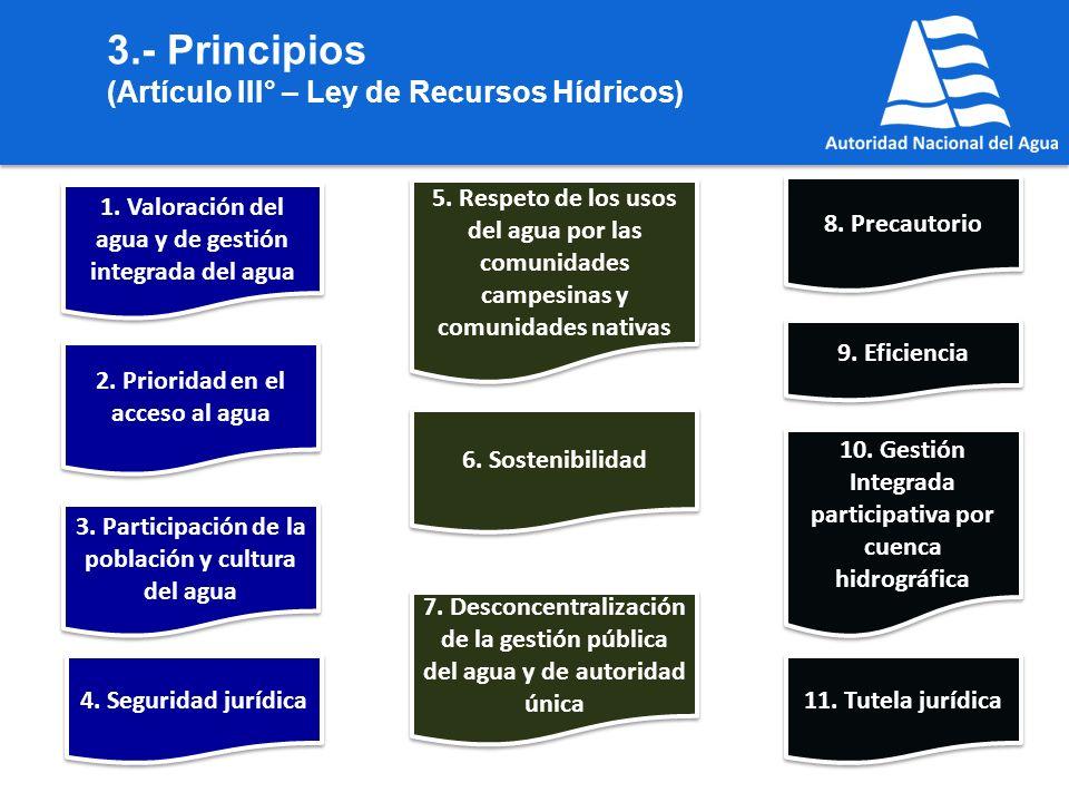 3.- Principios (Artículo III° – Ley de Recursos Hídricos)