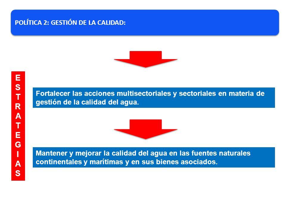 ESTRATEG I AS POLÍTICA 2: GESTIÓN DE LA CALIDAD: