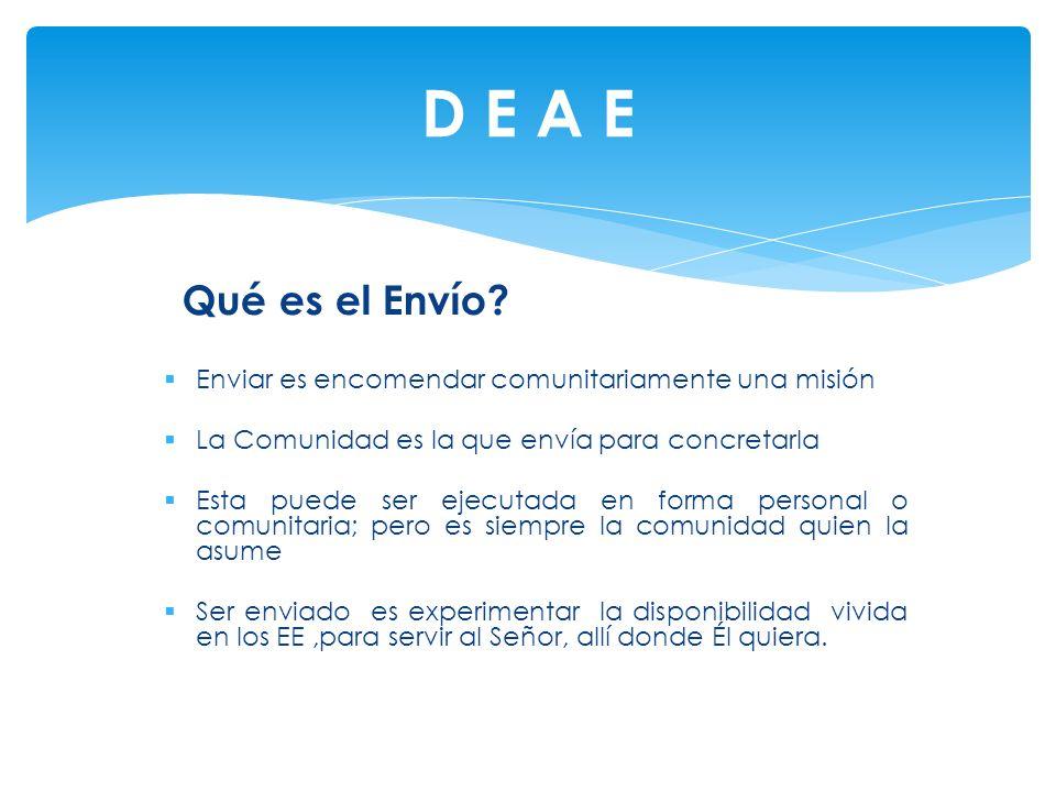 D E A E Qué es el Envío Enviar es encomendar comunitariamente una misión. La Comunidad es la que envía para concretarla.