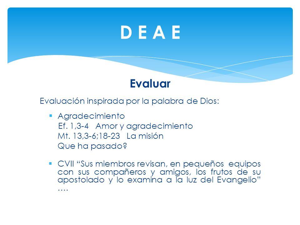 D E A E Evaluar Evaluación inspirada por la palabra de Dios: