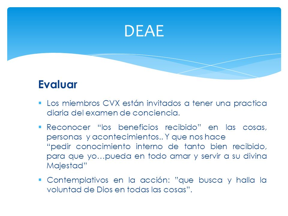 DEAE Evaluar. Los miembros CVX están invitados a tener una practica diaria del examen de conciencia.