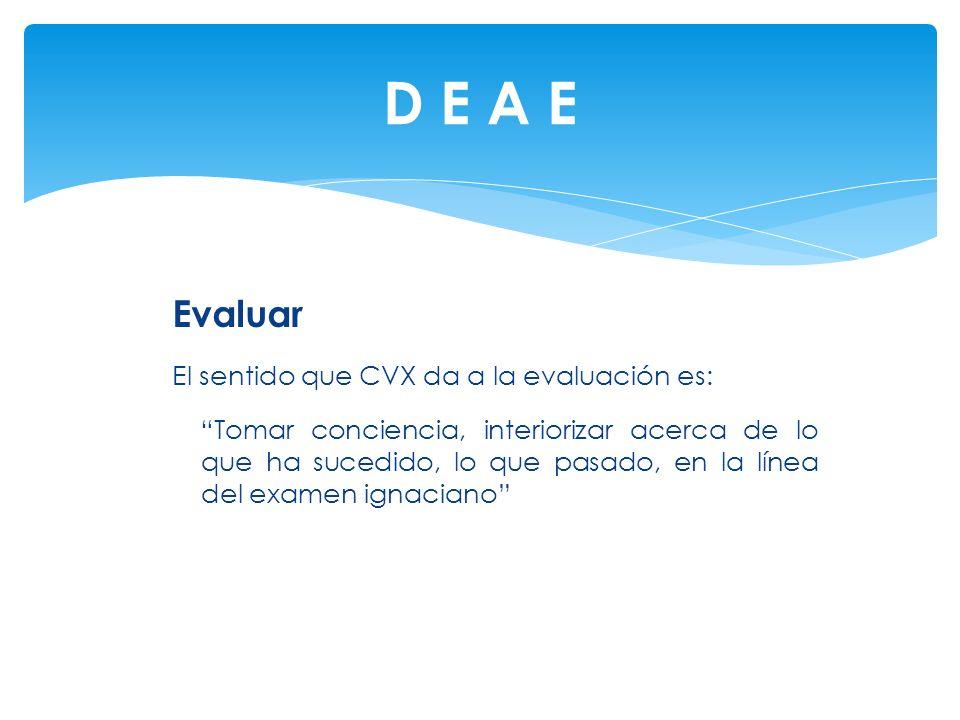 D E A E Evaluar El sentido que CVX da a la evaluación es: