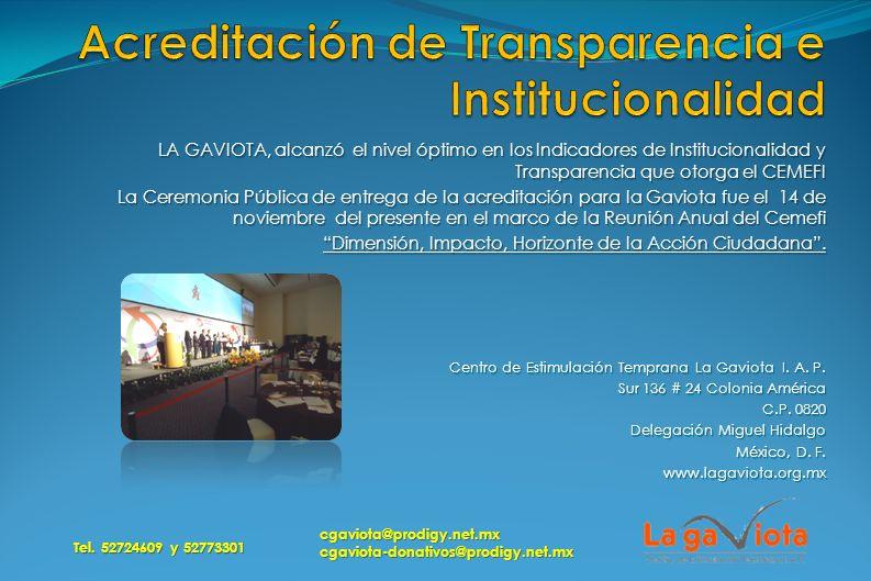 Acreditación de Transparencia e Institucionalidad