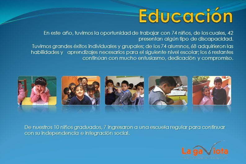 Educación En este año, tuvimos la oportunidad de trabajar con 74 niños, de los cuales, 42 presentan algún tipo de discapacidad.