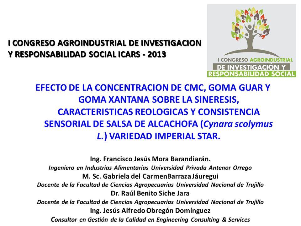 I CONGRESO AGROINDUSTRIAL DE INVESTIGACION