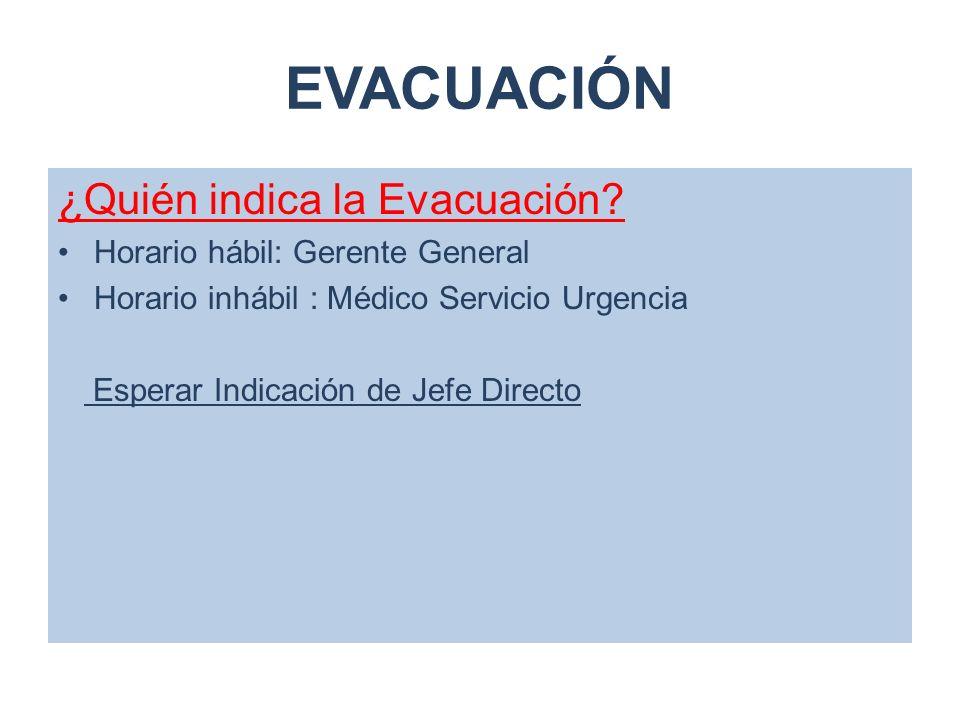 EVACUACIÓN ¿Quién indica la Evacuación Horario hábil: Gerente General