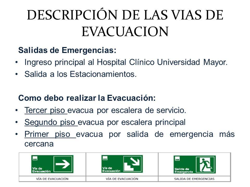 DESCRIPCIÓN DE LAS VIAS DE EVACUACION