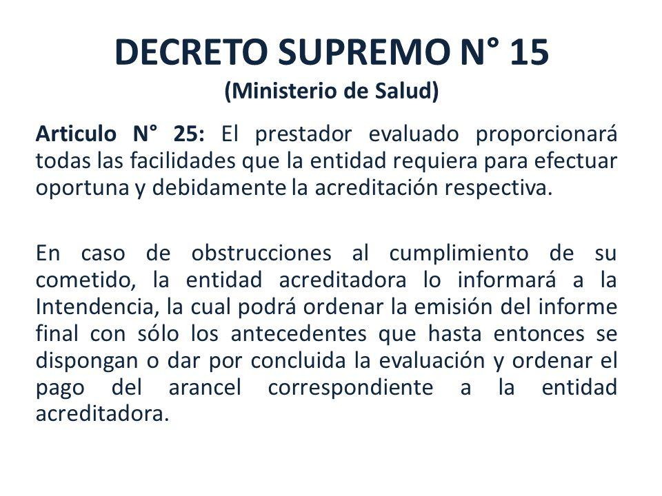 DECRETO SUPREMO N° 15 (Ministerio de Salud)