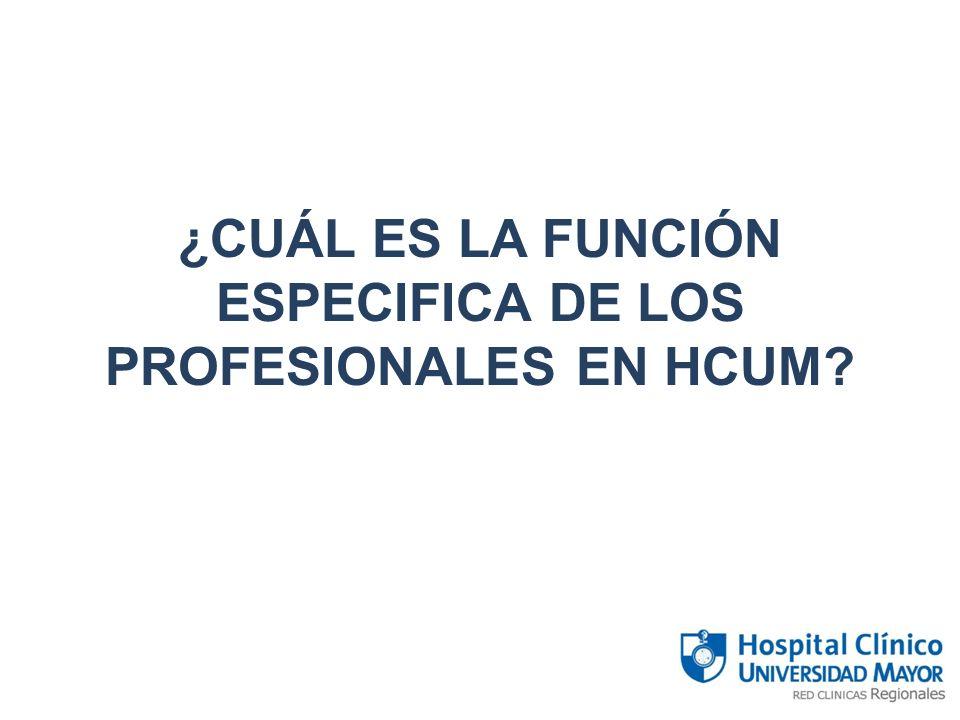¿CUÁL ES LA FUNCIÓN ESPECIFICA DE LOS PROFESIONALES EN HCUM