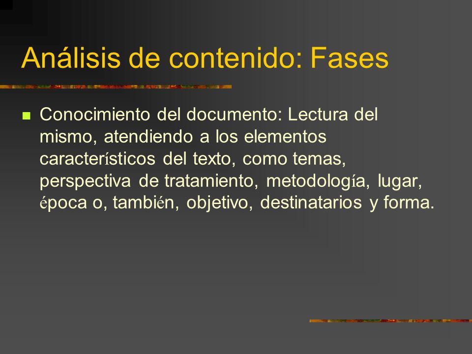 Análisis de contenido: Fases