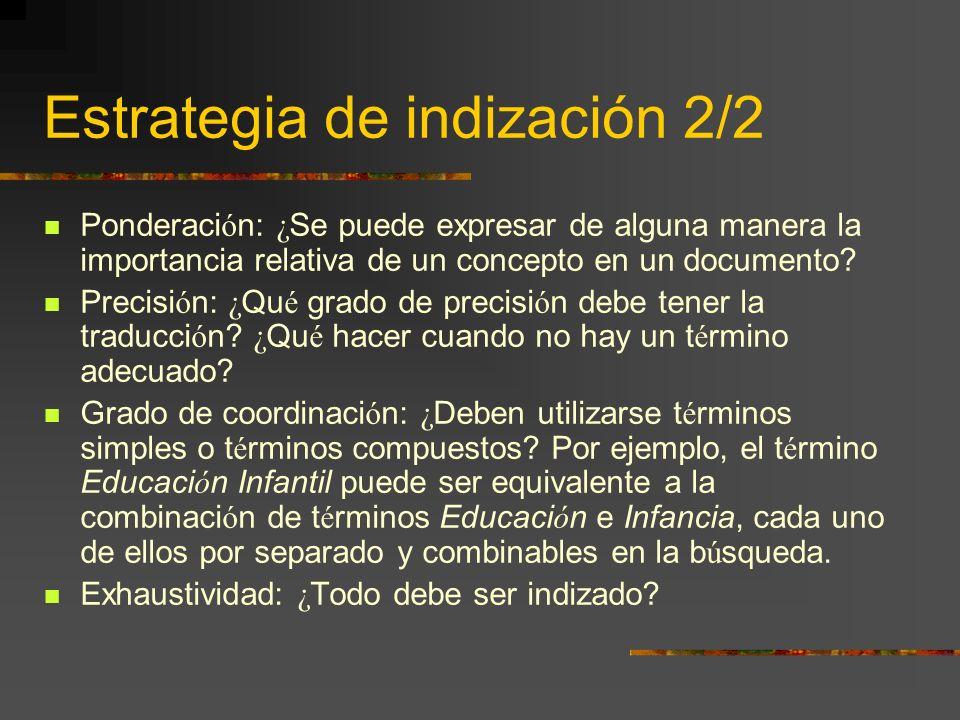 Estrategia de indización 2/2
