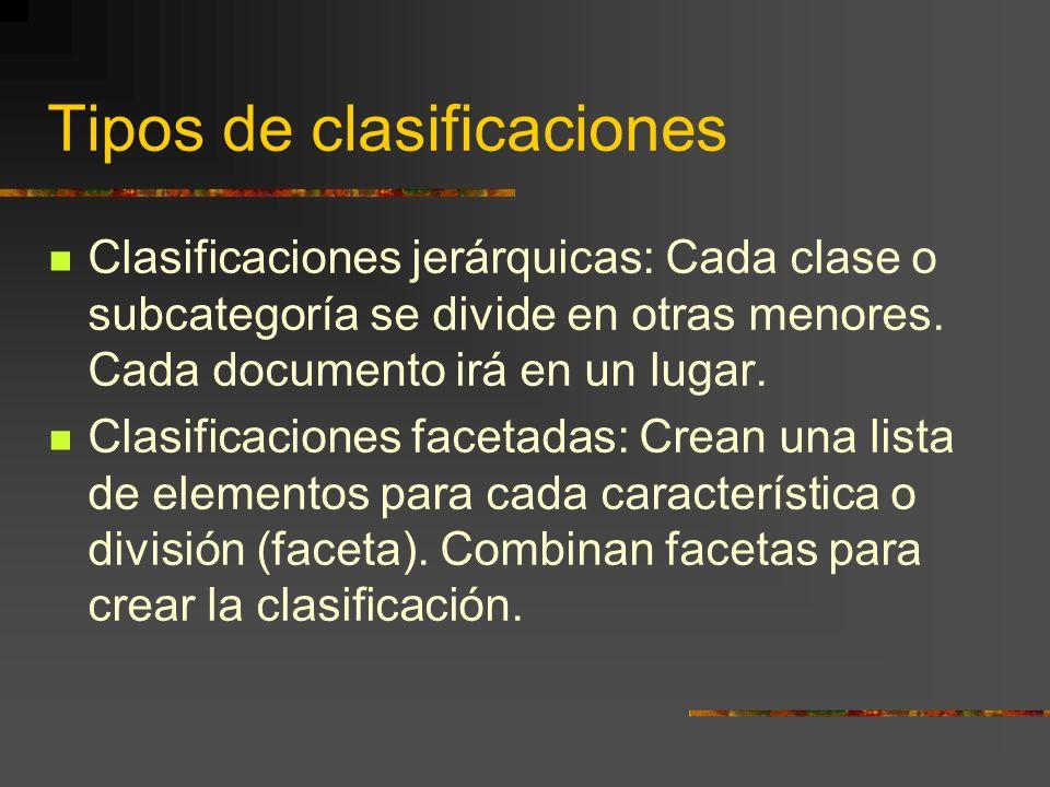 Tipos de clasificaciones