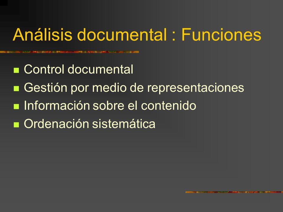 Análisis documental : Funciones