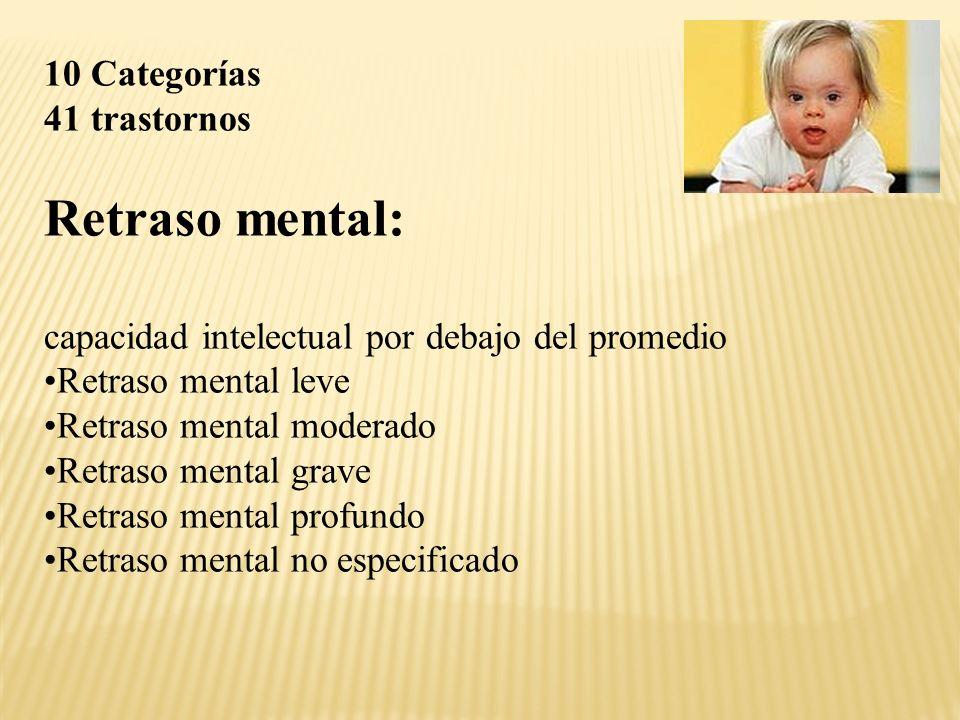 Retraso mental: 10 Categorías 41 trastornos