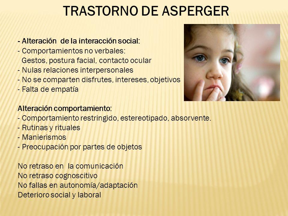 TRASTORNO DE ASPERGER - Alteración de la interacción social: