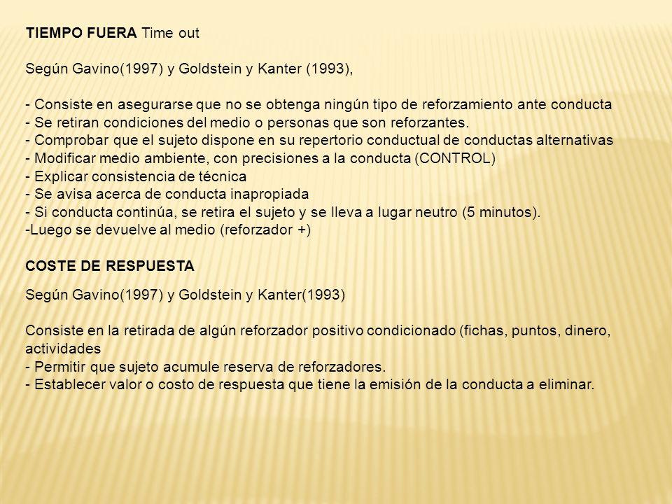 TIEMPO FUERA Time out Según Gavino(1997) y Goldstein y Kanter (1993),