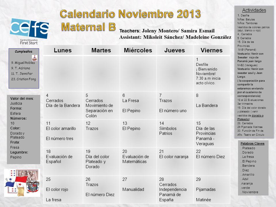 Calendario Noviembre 2013 Maternal B Lunes Martes Miércoles Jueves