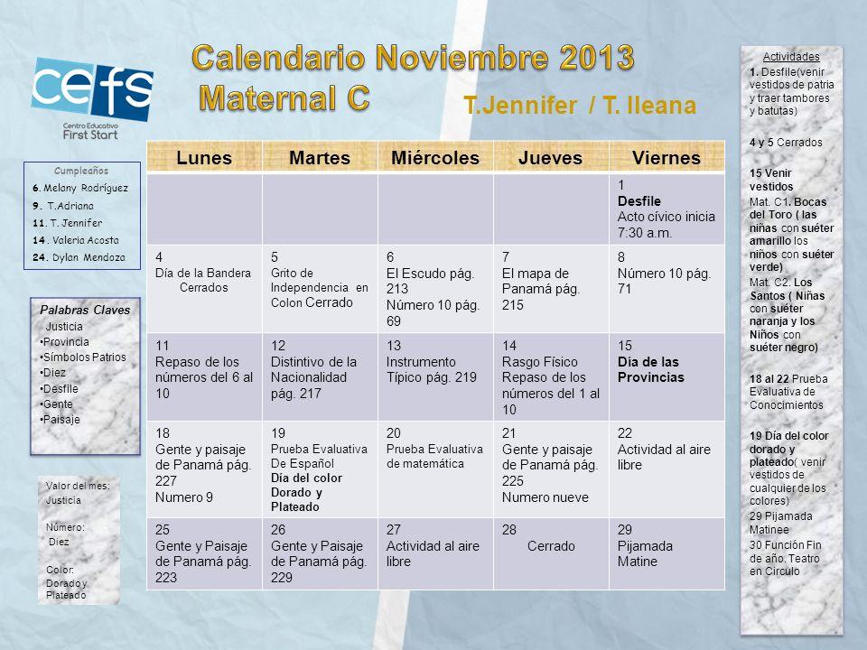 Calendario Noviembre 2013 Maternal C T.Jennifer / T. Ileana Lunes
