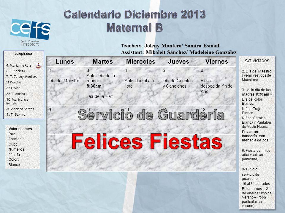 Felices Fiestas Servicio de Guardería Calendario Diciembre 2013
